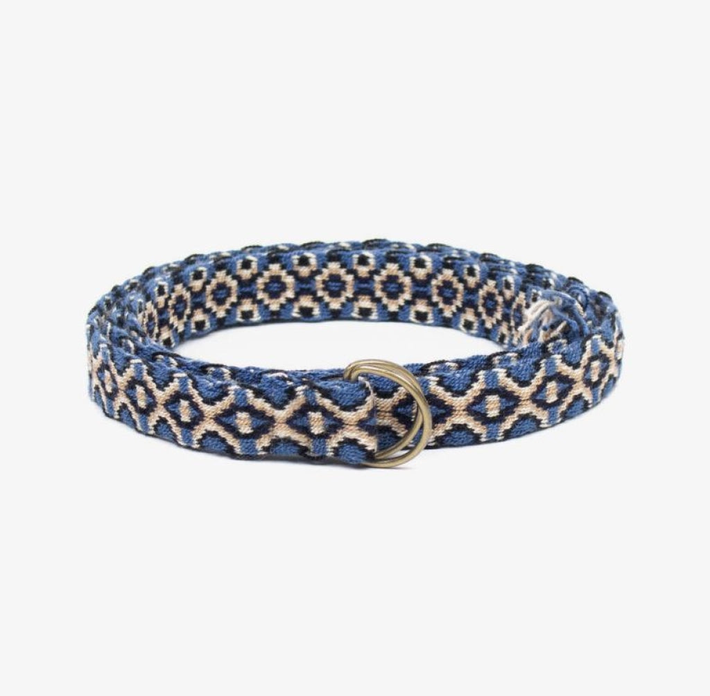 Guanabana thin belt with buckle | Blue with cream and black