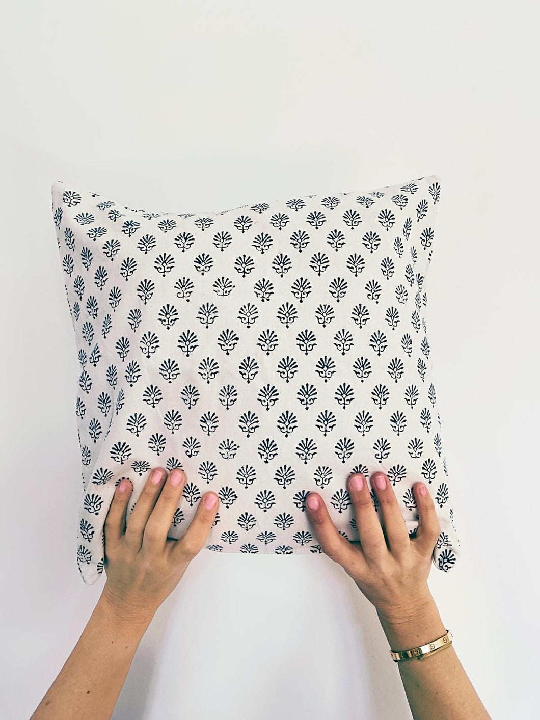 Pillowcase | 50x50 | White & Denim blue #1