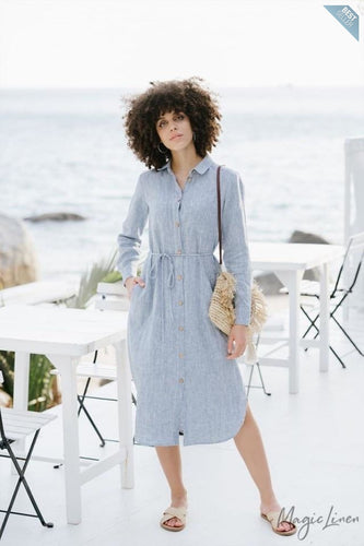Linen shirt dress Tarragona | Blue melange or white