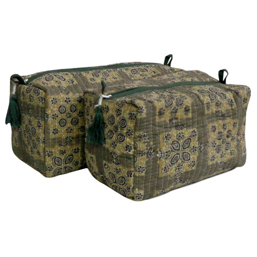 Blockprint cosmetic bag | Set of 2 | Green