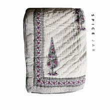 Load image into Gallery viewer, Quilted blanket | Grey flowers & cream with grey/purple flowers