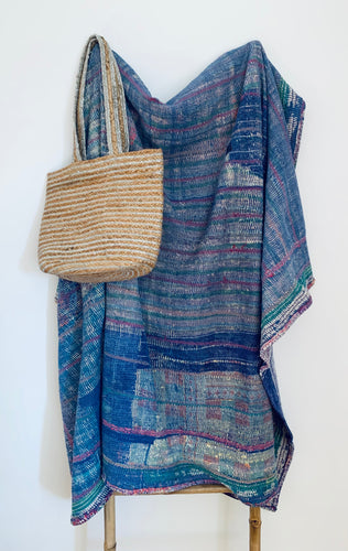 Vintage kantha quilt | Blue, purple & green colors