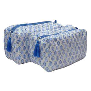 Blockprint cosmetic bag | Set of 2 | Blue