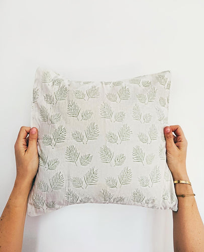 Pillowcase | 40x40 | White & Misty jade