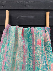 Vintage kantha quilt | Rugged, rough pastels | Vintage lover