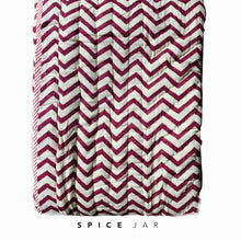 Load image into Gallery viewer, Summer blanket | Cream and fuchsia pink flowers & zig zag pattern