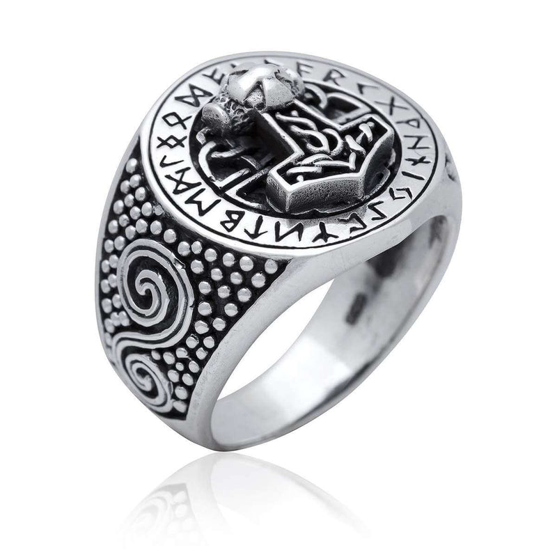 Pride Viking, Viking jewelry, Norse Jewelry 925 Sterling Silver Viking Thor Hammer Mjolnir Runes Ring