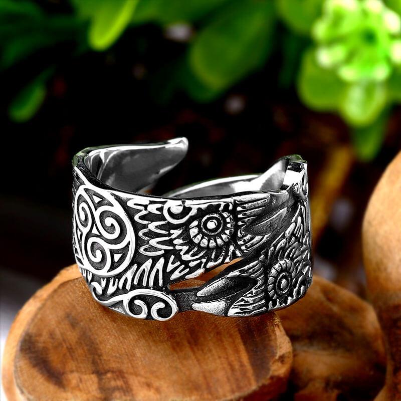 Pride Viking: Norse Jewelry Viking Odin's Raven Huginn and Muninn Ring