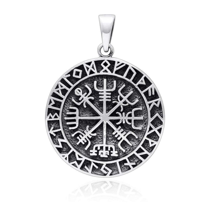 Pride Viking, Viking jewelry, Norse Jewelry 925 Sterling Silver Viking Vegvisir Norse Runes Pendant