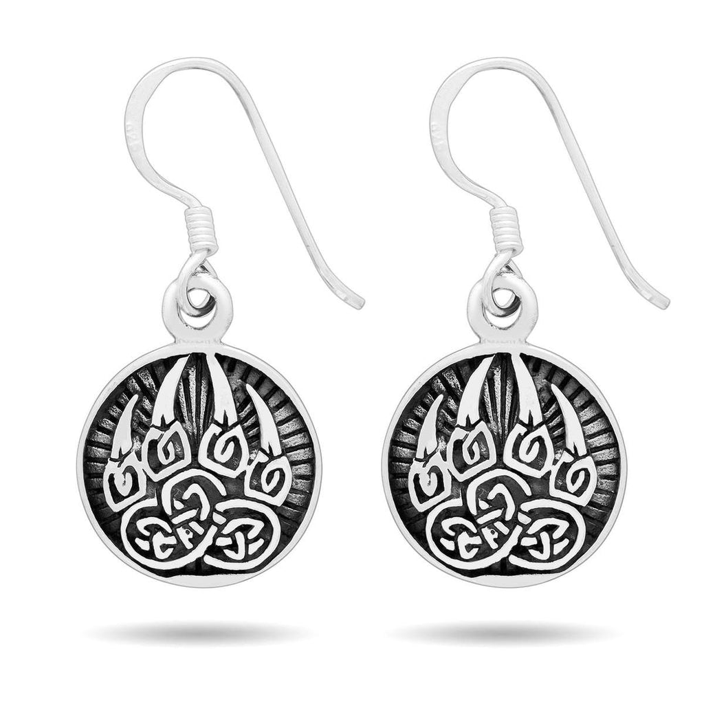 Pride Viking: Norse Jewelry 925 Sterling Silver Viking Bear Paw Earrings