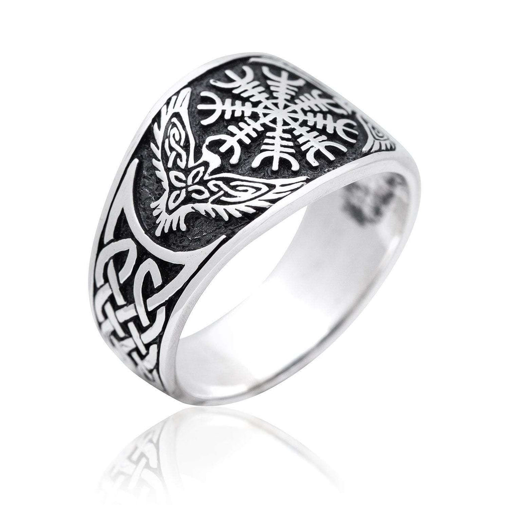 Pride Viking: Norse Jewelry 925 Sterling Silver Viking Helm of Awe Ring