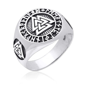 Pride Viking, Viking jewelry, Norse Jewelry 925 Sterling Silver Viking Valknut Norse Runes Ring