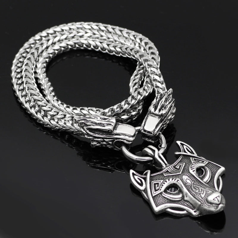 Viking jewelry, Norse Jewelry Viking Wolf Fenrir Head with Wolf Necklace