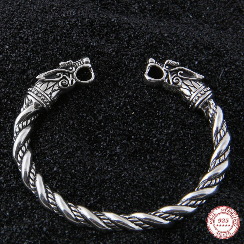 Pride Viking: Norse Jewelry Viking Wolf Fenrir Bracelet 925 Sterling Silver Armring