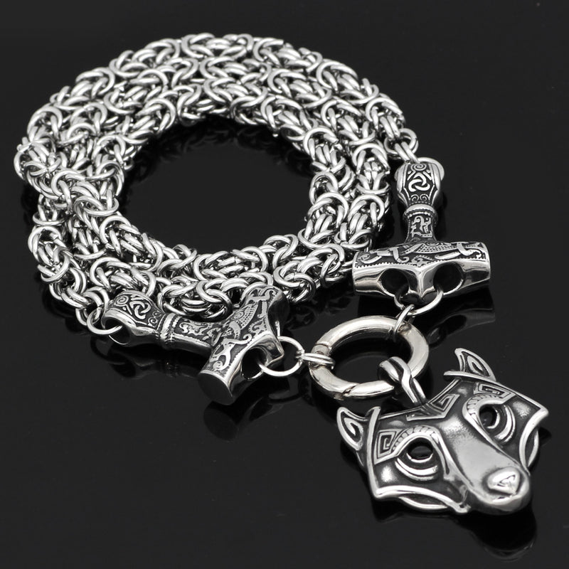 Viking jewelry, Norse Jewelry Viking King Chain Thor's Hammer Mjolnir with Wolf Fenrir