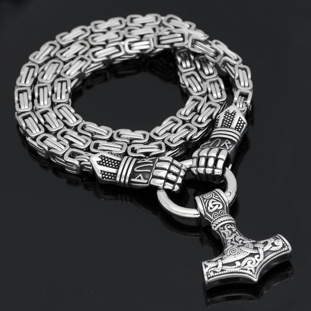 Pride Viking: Norse Jewelry War Gloves Mjolnir Thor Hammer Necklace