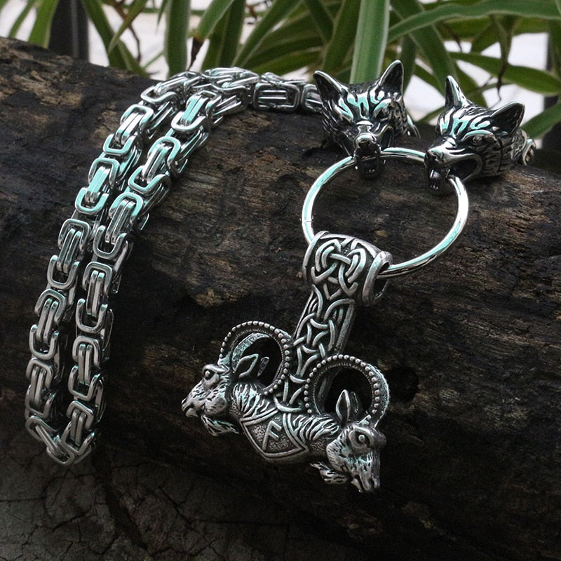 Viking jewelry, Norse Jewelry Viking Wolf Fenrir Goat Thor Hammer Mjolnir Necklace