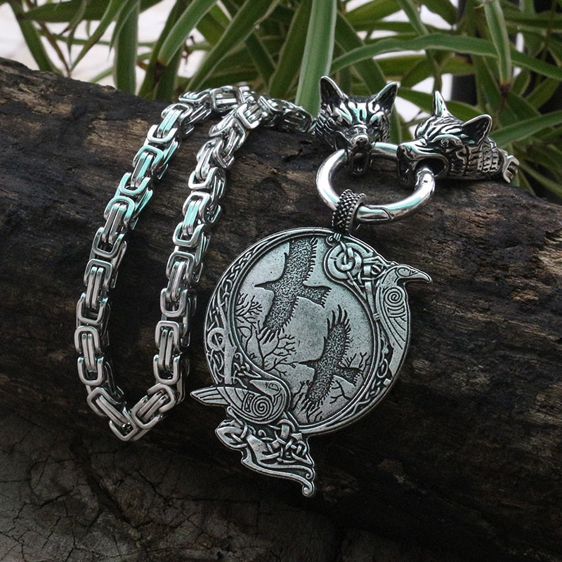 Viking jewelry, Norse Jewelry Wolf Chain Ravem Huginn and Muninn Necklace