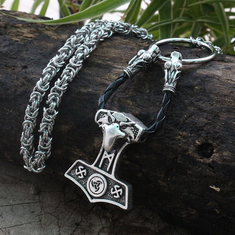 Viking jewelry, Norse Jewelry Viking Raven Head Thor Hammer Mjolnir Necklace