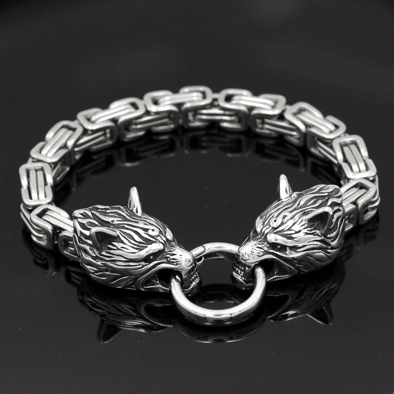 Viking jewelry, Norse Jewelry Viking Wolf Head Fenrir Link Bracelet Armring