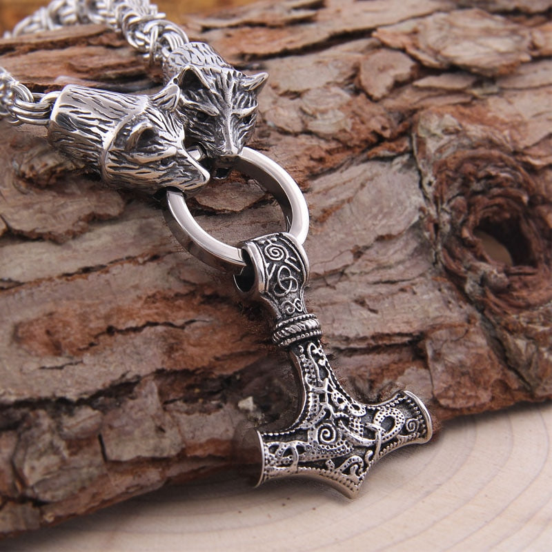Viking jewelry, Norse Jewelry Viking Bear Thor Hammer Mjolnir Necklace