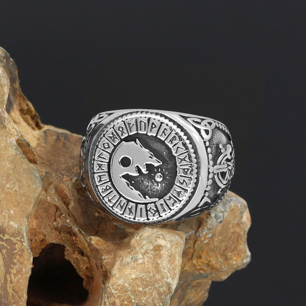 Viking jewelry, Norse Jewelry Viking Wolf Fenrir Rune Ring