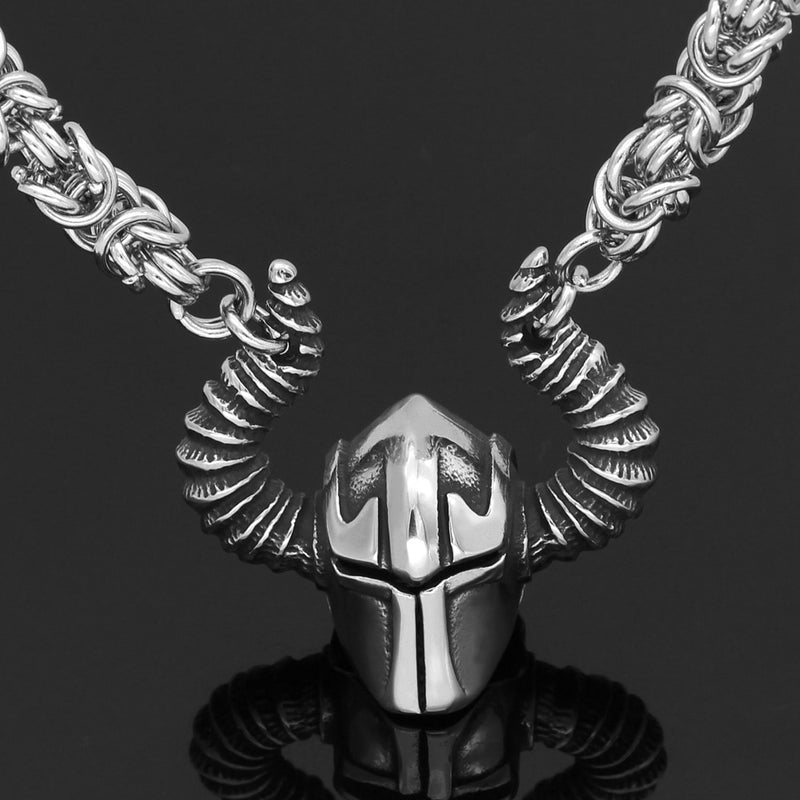 Viking jewelry, Norse Jewelry King Chain Battle Helmet Necklace