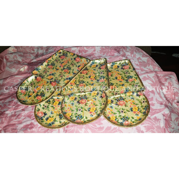 1950S Snack Trays From Japan-Floral