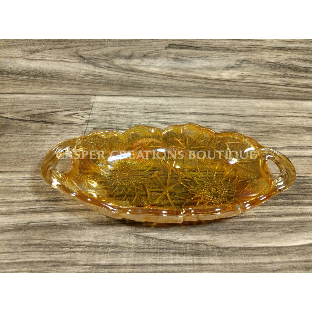 Amber Carnival Glass Marigolds Relish Pickle Dish
