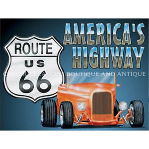Americas Highway Route 66 Roadster Sign