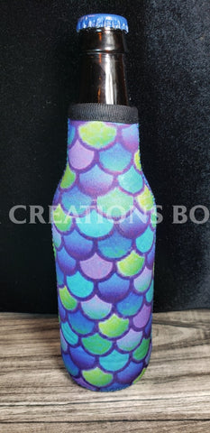 Blue Green Purple Mermaid Beer Bottle Holder