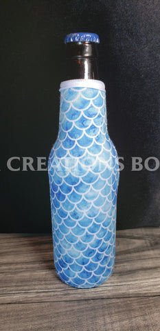 Blue & White Mermaid Beer Bottle Holder