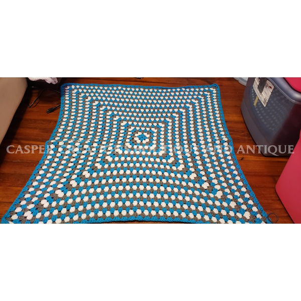Blue/white/grey Blanket Approx 33X33