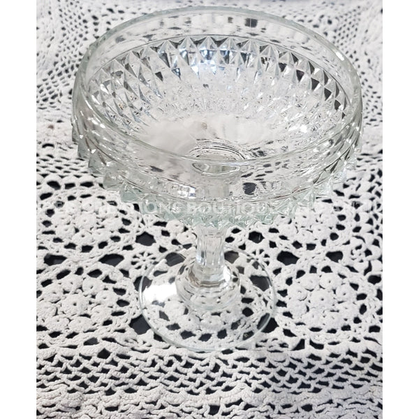 Clear Cut Diamond Pt Pedestal Candy Dish