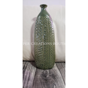Green Vase Approximately 18.5 Inches Tall