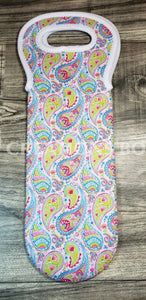 Lime Pink & Blue Paisley Wine Bottle Holder