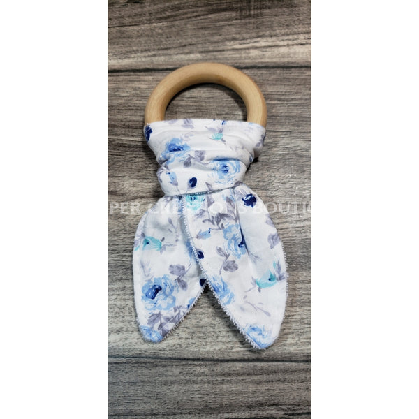 Organic Bunny Ear Teethers Blue Flowers With Grey Stems