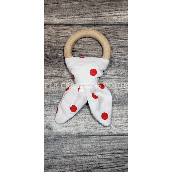 Organic Bunny Ear Teethers White With Red Dots