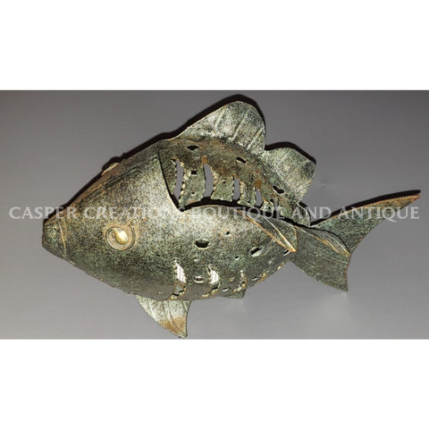 Rustic Metal Fish Art Tea Light Candle Holder