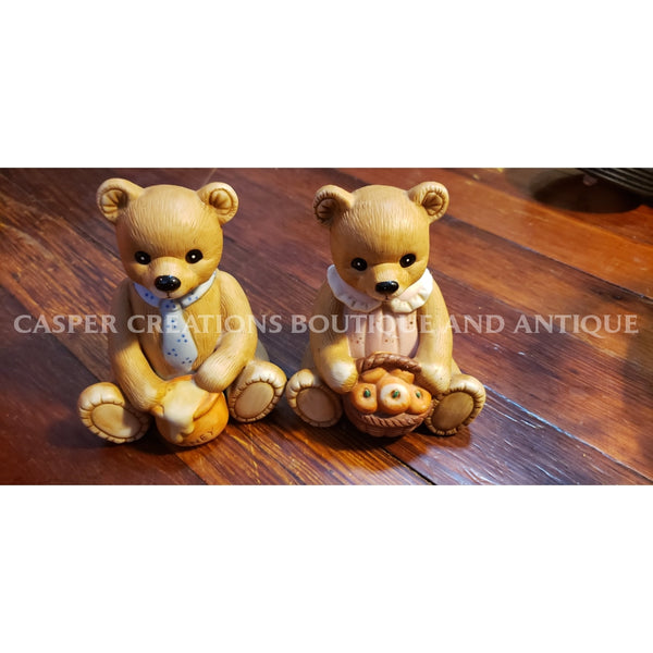 Vtg Home Interior Mommaapple/papahoney Bear Set