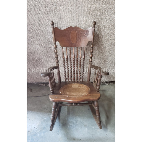 Wooden Rocking Chair With Embossed Leather Seat