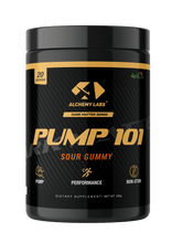 "Load image into Gallery viewer, <img src=pump101.png"" alt=""Alchemy Labs PUMP101 non stimulant pre workout"">"
