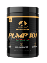 "Load image into Gallery viewer, <img src=pump101.png"" alt=""Alchemy Labs PUMP101 non stimulant pre workout watermelon flavor"">"