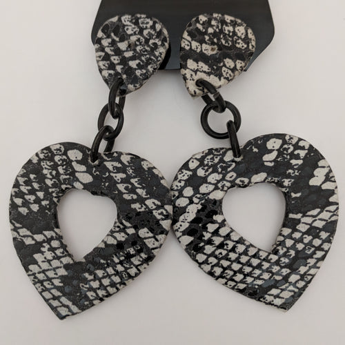 Large Statement Black and White Snakeskin Effect Heart Clip On Earrings