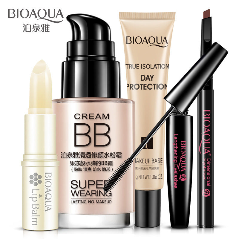 5PCS BIOAQUA Brand Cosmetic Makeup Set Honey Lip Balm BB Cream Eyebrow Pencil Mascara Makeup Base Cream Tool Kits For Daily Use - getthatglow