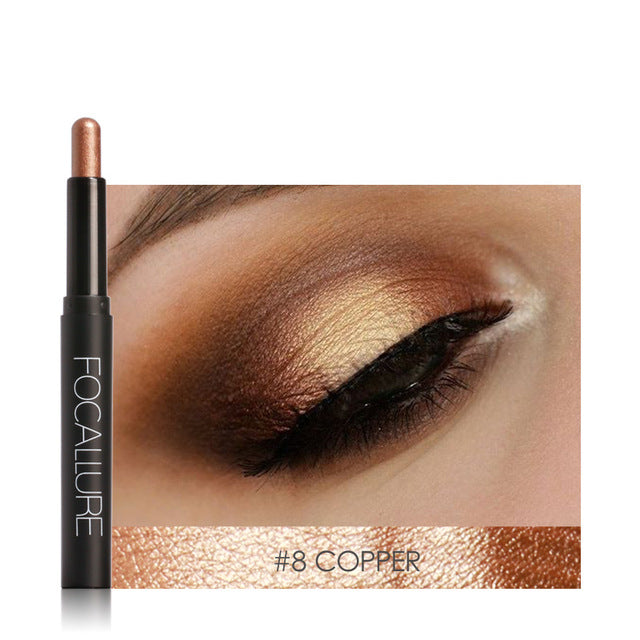 FOCALLURE Pro 12 Colors Eyes Makeup Liner Combination Eyeshadow Pencil Sticker Easy to Wear Long Lasting Shimmer Tools - getthatglow