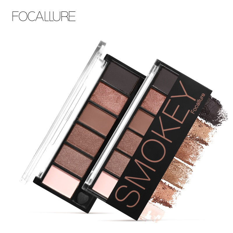 FOCALLURE 6 Colors Eyeshadow Palette Glamorous Smokey Eye Shadow Shimmer Colors Makeup Kit by Focallure - getthatglow