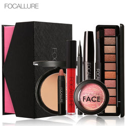 [Rosalind Beauty] FOCALLURE 8 Pcs Cosmetick included Eyes Mascara Lipstick Powder Lipgloss - getthatglow