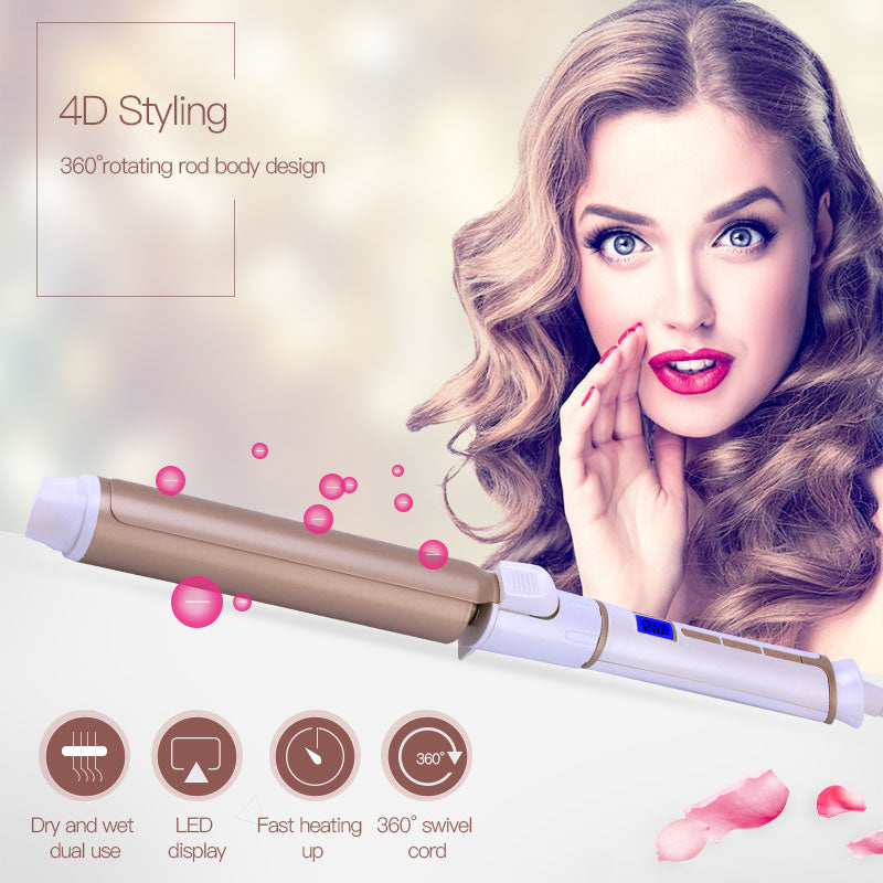25mm Hair Curler Curling Iron Wand LED Digital Wave Hair Styling Tool Hair Styler Spiral Curls - getthatglow
