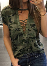 Load image into Gallery viewer, Lace Up Camouflage Printed Blouse
